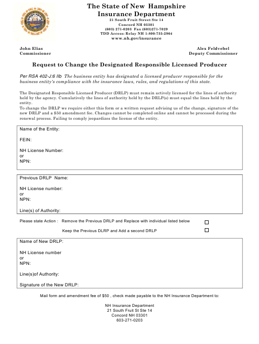 """""""Request to Change the Designated Responsible Licensed Producer"""" - New Hampshire Download Pdf"""