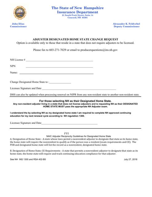 """Adjuster Designated Home State Change Request"" - New Hampshire Download Pdf"