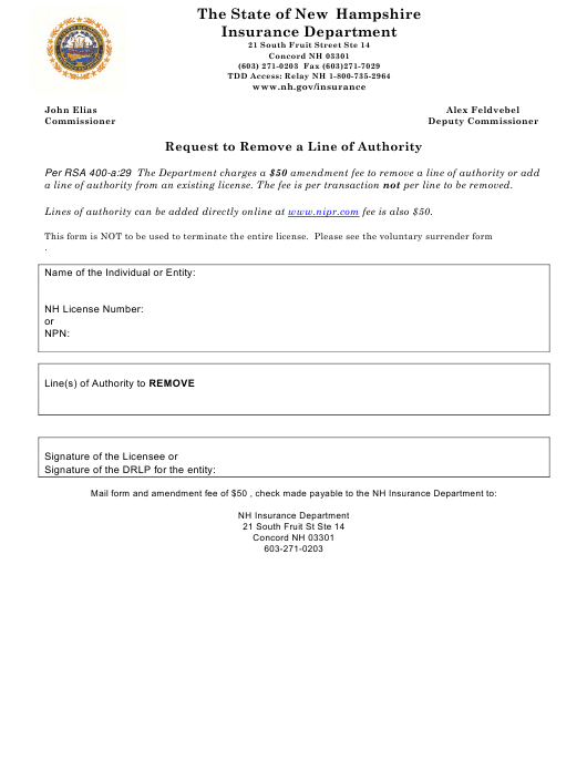 """""""Request to Remove a Line of Authority"""" - New Hampshire Download Pdf"""