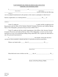 """Form CPLS152 """"Partnership or Other Business Organization Certificate of Resolution"""" - New Hampshire"""