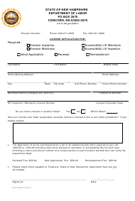 "Form ELCA ""License Application for Elevator Inspector, Elevator Mechanic, Accessibility Lift Mechanic, Accessibility Lift Inspector"" - New Hampshire"
