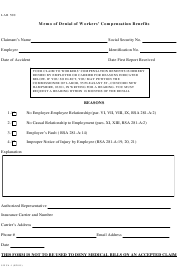 "Form 9 WCA-1 ""Memo of Denial of Workers' Compensation Benefits"" - New Hampshire"
