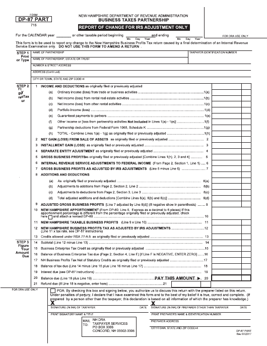 Form DP-87 PART  Printable Pdf
