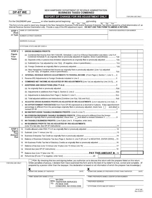 Form DP-87 WE  Printable Pdf
