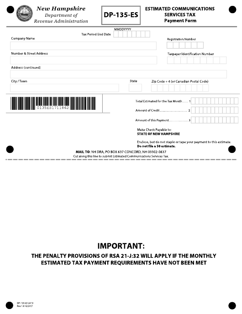Form DP-135-ES  Printable Pdf