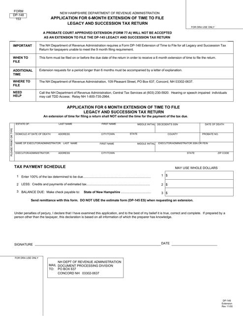 Form DP-148  Printable Pdf