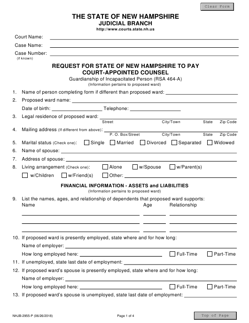 Form NHJB-2955-P  Printable Pdf