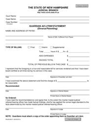 """Form NHJB-2924-F """"Guardian Ad Litem Statement (Divorce/Parenting)"""" - New Hampshire"""