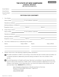 "Form NHJB-2199-F ""Petition for Contempt"" - New Hampshire"