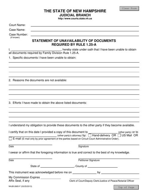 Form NHJB-2665-F  Printable Pdf