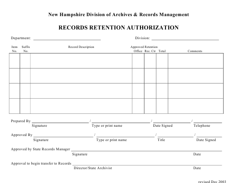 """Records Retention Authorization Form"" - New Hampshire Download Pdf"