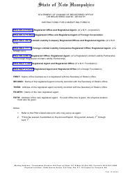 """Form 10 """"Statement of Change of Registered Office or Registered Agent, or Both"""" - New Hampshire"""
