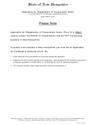 "Form 5 ""Application for Registration of Corporate Name (A for Profit Foreign Corporation)"" - New Hampshire"