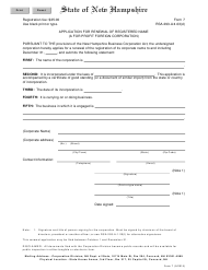 "Form 7 ""Application for Renewal of Registered Name (A for Profit Foreign Corporation)"" - New Hampshire"