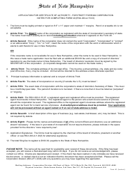 """Form 40 """"Application for Certificate of Authority of a for Profit Foreign Corporation"""" - New Hampshire"""