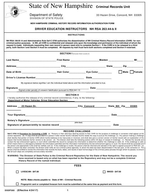 Form DSSP380  Printable Pdf