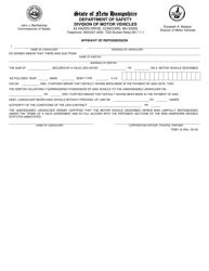 "Form TDMV16 ""Affidavit of Repossession"" - New Hampshire"