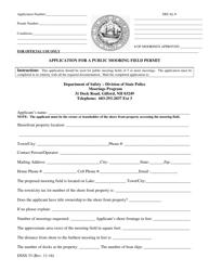 "Form DSSS33 ""Public Mooring Field Application"" - New Hampshire"