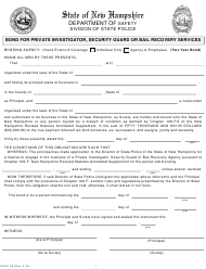 """Form DSSP55 """"Bond for Private Investigator,security Guard or Bail Recovery Services"""" - New Hampshire"""
