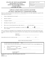 """Form DSFS72 """"Application for Agents License to Sell or Install Lightning Rods"""" - New Hampshire"""
