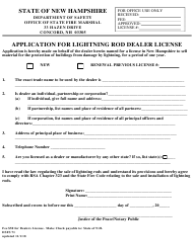 "Form DSFS71 ""Application for Lightning Rod Dealer License"" - New Hampshire"