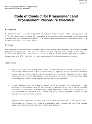 """Form 325 """"Code of Conduct for Procurement and Procurement Checklist"""" - New Jersey"""