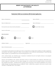 """Form 118 """"Residential Child Care Institution (Rcci) Intake Application"""" - New Jersey"""