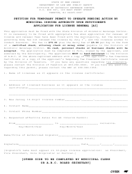 """""""Petition for Temporary Permit to Operate Pending Action by Municipal Issuing Authority Upon Petitioner's Application for License Renewal"""" - New Jersey"""