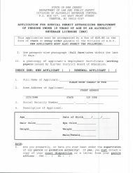 """""""Application for Special Permit Authorizing Employment of Persons Under 18 Years of Age by an Alcoholic Beverage Licensee"""" - New Jersey"""