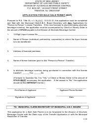 """""""Application for Bulk Sale Permit"""" - New Jersey"""