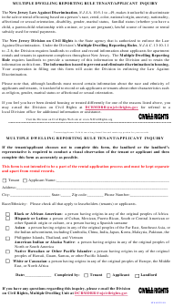 """""""Multiple Dwelling Reporting Rule Tenant/Applicant Inquiry"""" - New Jersey"""