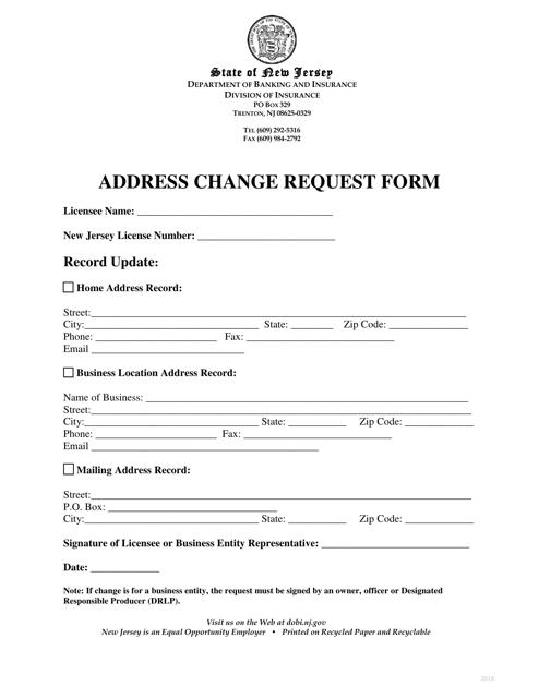 """Address Change Request Form"" - New Jersey Download Pdf"
