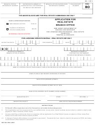 "Form REC005 ""Application for Real Estate Branch Office"" - New Jersey"