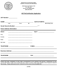 """Ast Re-certification Application"" - New Jersey"