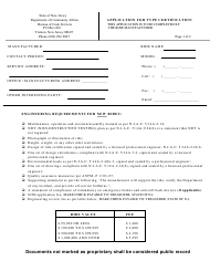 "Form ES-90A ""Application for Type Certification"" - New Jersey"