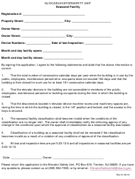 """Application for Seasonal Facility"" - New Jersey"