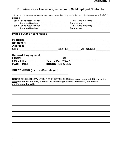 MDI Form A  Printable Pdf