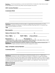 "Form F ""Form for Applicants With Licenses (Ucc, Civil Service, Health)"" - New Jersey"