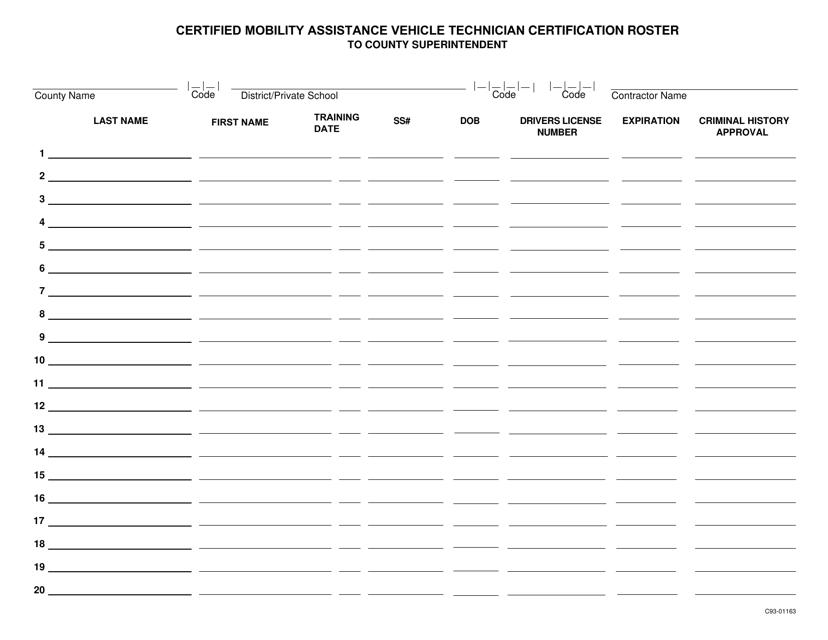 Form C93-01163  Printable Pdf