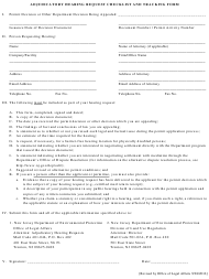 """Adjudicatory Hearing Request Checklist and Tracking Form"" - New Jersey"