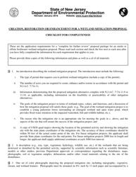 """Creation, Restoration or Enhancement for a Wetland Mitigation Proposal Checklist"" - New Jersey"