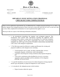 """Riparian Zone Mitigation Proposal Checklist"" - New Jersey"