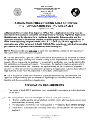 """A Highlands Preservation Area Approval Pre-application Meeting Checklist"" - New Jersey"