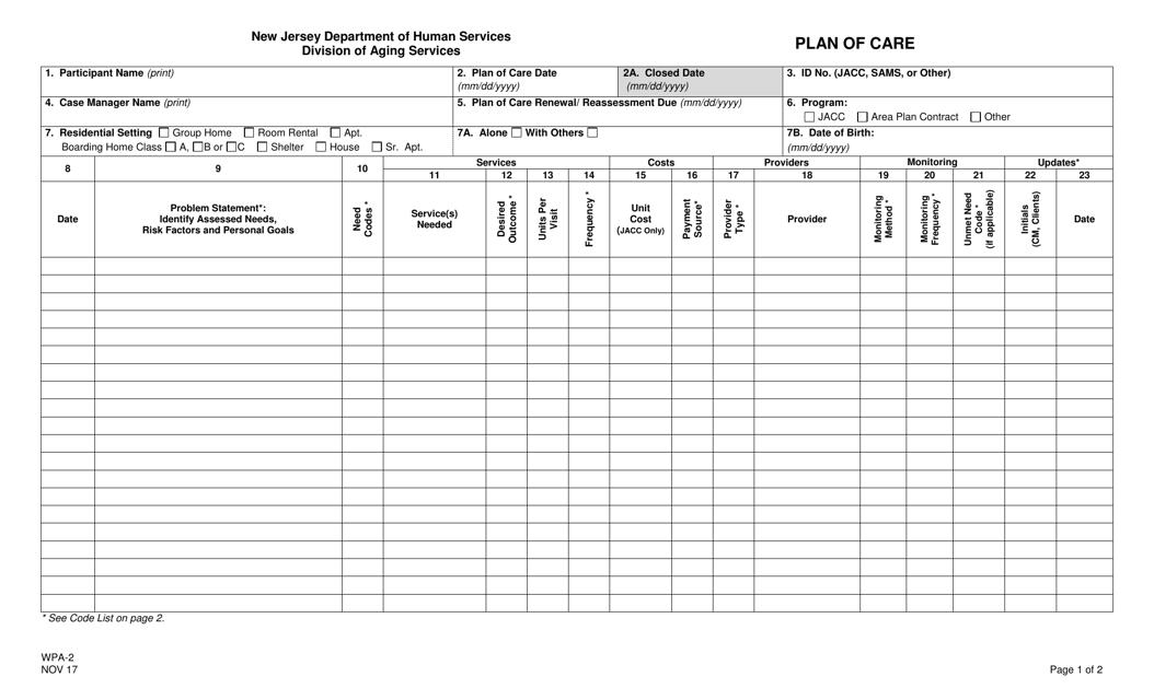 Form WPA-2  Printable Pdf