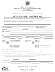 "Form ACL-5 ""Application for Permit Renewal"" - New Jersey"
