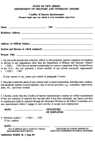 "NJDMAVA Form 74 ""Conflict of Interest Questionnaire"" - New Jersey"