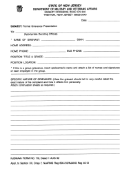 "NJDMAVA Form 719 ""Formal Grievance Presentation"" - New Jersey"