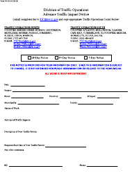 """Form TO-103 """"Advanced Traffic Impact Notice"""" - New Jersey"""