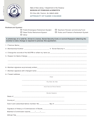 "Form FC-0369 ""Affidavit of Name Change"" - New Jersey"