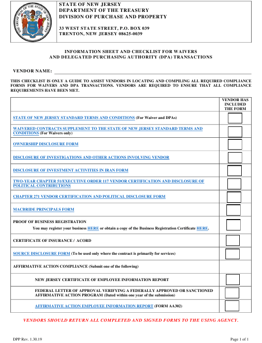 """Information Sheet and Checklist for Waivers and Delegated Purchasing Authority (Dpa) Transactions"" - New Jersey Download Pdf"